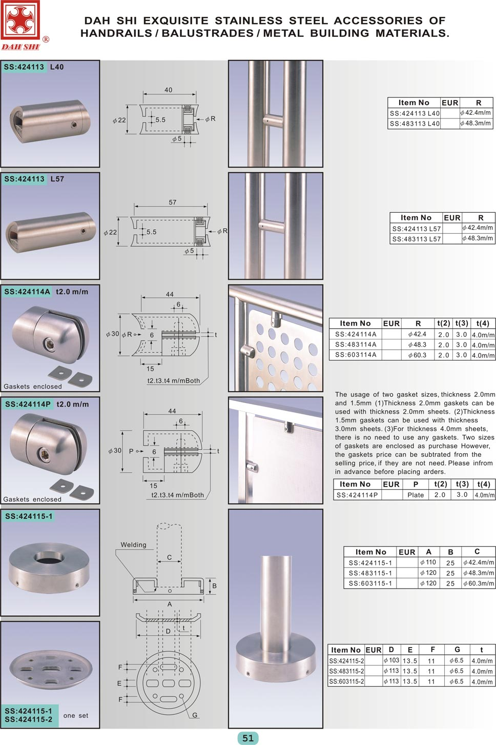 stainless steel accessories of handrails, balustrades, metal building materials